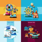 Amusement Design Concept Set Stock Illustration