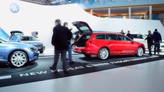 Volkswagen stand at the motor show Stock Footage