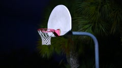 Outdoor Evening Shot of Basketball Net Stock Footage