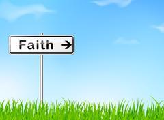 faith direction sign - stock illustration