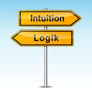Intuition and logic signs (german translation) Stock Illustration