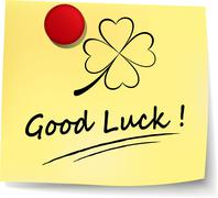 good luck yellow note - stock illustration