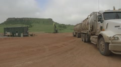 Truck pumping fracking fluid with oil pumpjack Stock Footage