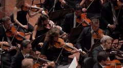 Orchestra with violins-001 Stock Footage