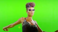 African Stylish Girl Dancing On Green Screen. - stock footage