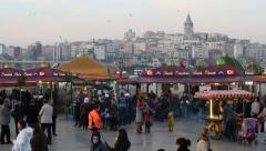 Eminonu Pier looking to Goldenhorn and Galata Tower Stock Footage