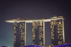 Singapore,December 20,2013: The new Marina Bay Sands resort on a late evening - stock photo