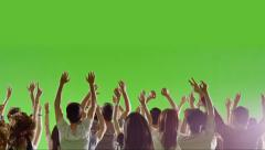 Crowd of fans dancing on green screen. Concert, Dancing, Hands up., Slow motion. Stock Footage