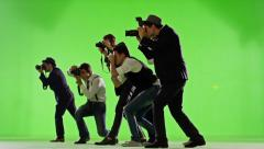 Group of paparazzi. Photo shoot on green screen. Slow motion. - stock footage