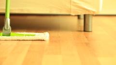 Mop standing on wooden floor. Full Hd 1920X1080P Stock Footage