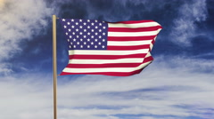 United states flag waving in the wind. Green screen, alpha matte. Loopable Stock Footage