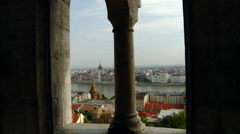 Budapest - Aerial View of City and Danube River Framed by Columns Stock Footage