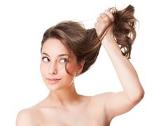 Strong healthy hair. - stock photo