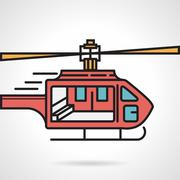 Flat vector icon for red helicopter Stock Illustration