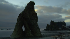 View of rock formation on Ruby beach Stock Footage