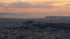 Athens Greece skyline dusk establishing shot,Acropolis in view - stock footage
