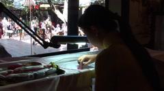 Vietnamese women sewing inside Stock Footage