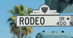Rodeo Drive shopping area street sign in Beverly Hills Stock Footage
