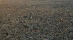 Athens Greece aerial, panning, buildings, establishing shot dusk/sunset Stock Footage