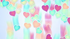 Multicolor hearts falling loopable background Stock Footage