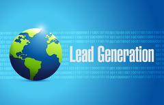Lead generation globe sign illustration design Stock Illustration