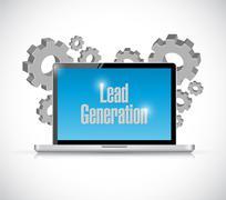 Lead generation computer gear illustration design Stock Illustration