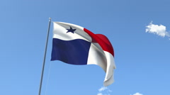 The flag of Panama Waving on the Wind. - stock footage