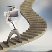 Overload businessman - stock photo