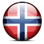Map on flag button of Bouvet Island - stock illustration