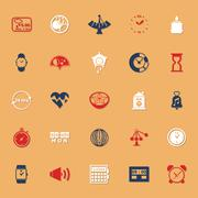 Design time classic color icons with shadow - stock illustration
