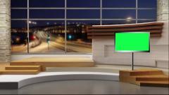 Stock Video Footage of News TV Studio Set 49-Virtual Green Screen Background Loop