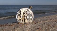Pocket vintage clock on  sea ocean resort beach sand Stock Footage