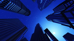 Airplane is flying in the night over the city Stock Footage