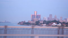 Ren Cen from Belle Ile Bridge - stock footage