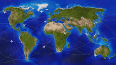 physical world travel map with airplanes - stock footage