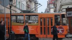 Large panda bear entertaining children and pedestrians downtown Lviv Stock Footage