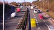 Stock Video Footage of Time lapse of traffic flow at a junction on the A14 dual carriageway