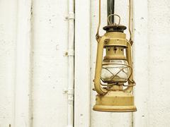 Street aged vintage kerosene oil lamp outdoor Stock Photos