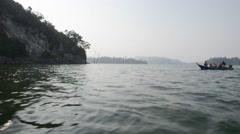 Inland Island - Pulau Batu Putih, Boat Coming Into View Stock Footage