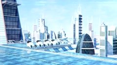 Futuristic sci-fi city street view, 3d digitally rendered animation - stock footage