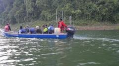 Inland Island - Pulau Batu Putih, Boat Approaching Pan Right Stock Footage