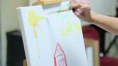 People draw a collective picture Stock Footage