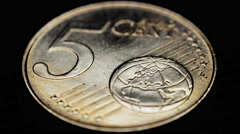4K coin euro currency,rotation,motion macro close up Stock Footage