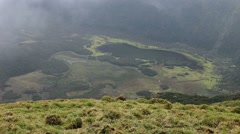 Cabeço Gordo a volcanic Caldera on the island of Faial in the Azores Stock Footage