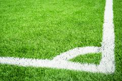 Green soccer field with conner Stock Photos