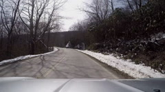 Frozen snowy mountain drive Stock Footage