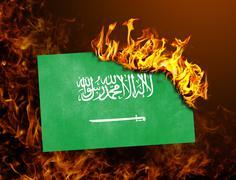 Flag burning - Saudi Arabia Stock Photos