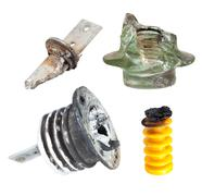 Fragments of defect of insulators for High Voltage - stock photo