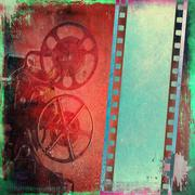 Vintage film strip background and old projector - stock illustration