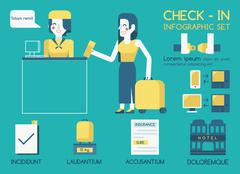 Check in Info graphic Stock Illustration
